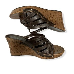 Self Esteem Cork Wedge Sandals-Brown